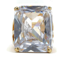 Load image into Gallery viewer, Oversized Radiant Cut Gold Tone Solitaire Clear CZ Fashion Ring