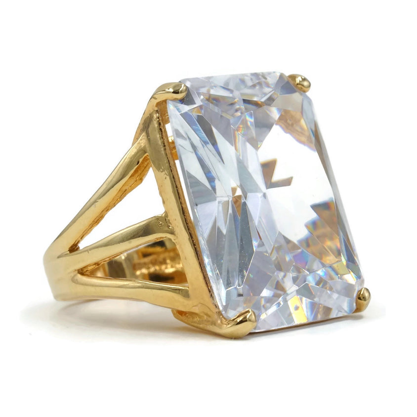 Oversized Radiant Cut Gold Tone Solitaire Clear CZ Fashion Ring