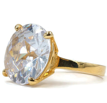 Load image into Gallery viewer, Oversized Special Cut Solitaire CZ Fashion Ring in Gold Tone