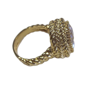 Large Round Clear CZ Gold Tone Fashion Ring with Twisted Rope Detail