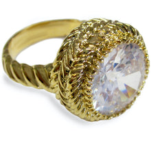 Load image into Gallery viewer, Large Round Clear CZ Gold Tone Fashion Ring with Twisted Rope Detail