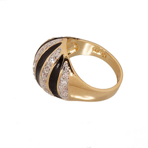 Zebra Stripe Gold Tone Fashion Ring