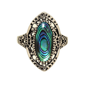 Antique Finish Genuine Abalone Rhodium Plated Ring