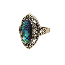 Load image into Gallery viewer, Antique Finish Genuine Abalone Rhodium Plated Ring