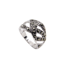 Load image into Gallery viewer, Sterling Silver Abstract Chevron Band Ring With Genuine Marcasite