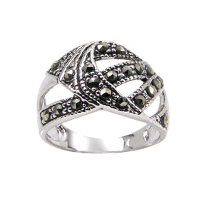 Sterling Silver Abstract Chevron Band Ring With Genuine Marcasite