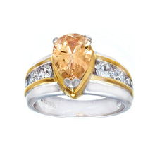 Load image into Gallery viewer, Pear Shaped Champagne Cubic Zirconia Fashion Ring