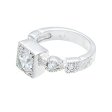 Load image into Gallery viewer, Designer Silvertone Engagement Ring in Clear Cubic Zirconia