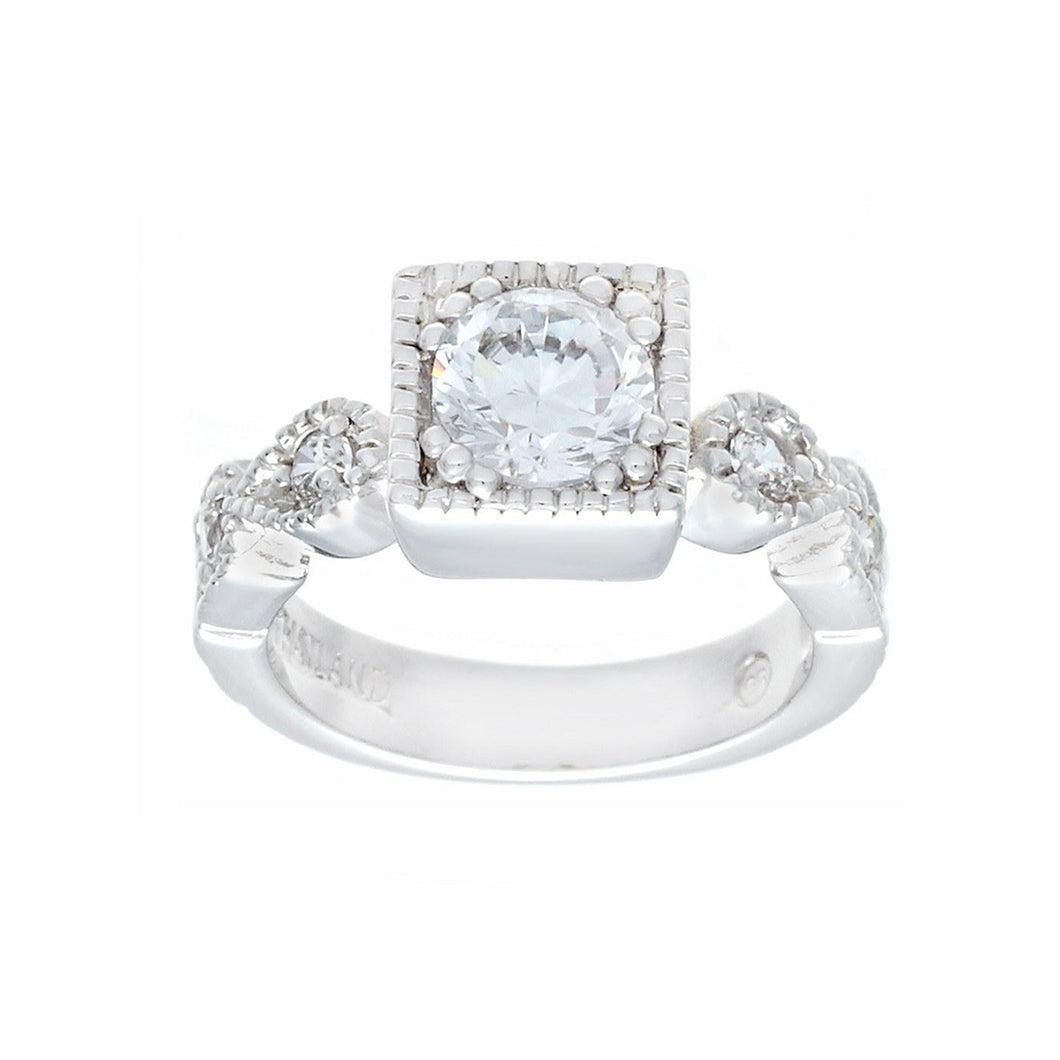 Designer Silvertone Engagement Ring in Clear Cubic Zirconia