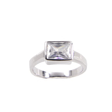 Load image into Gallery viewer, Sterling Silver Engagement Ring in Special Cut Cubic Zirconia