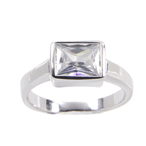 Sterling Silver Engagement Ring in Special Cut Cubic Zirconia