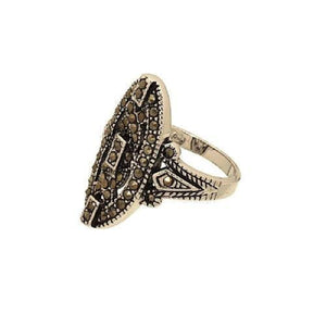 Retro Style Oval Shaped Genuine Marcasite Fashion Ring