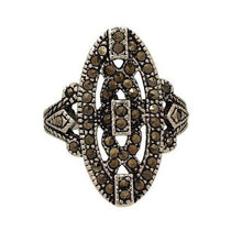 Load image into Gallery viewer, Retro Style Oval Shaped Genuine Marcasite Fashion Ring