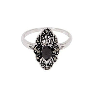 Navette Vintage Style Sterling Silver Ring With Black Marquis