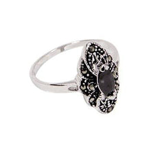 Load image into Gallery viewer, Navette Vintage Style Sterling Silver Ring With Black Marquis