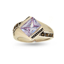 Load image into Gallery viewer, Lavender Cubic Zirconia and Marcasite Ring