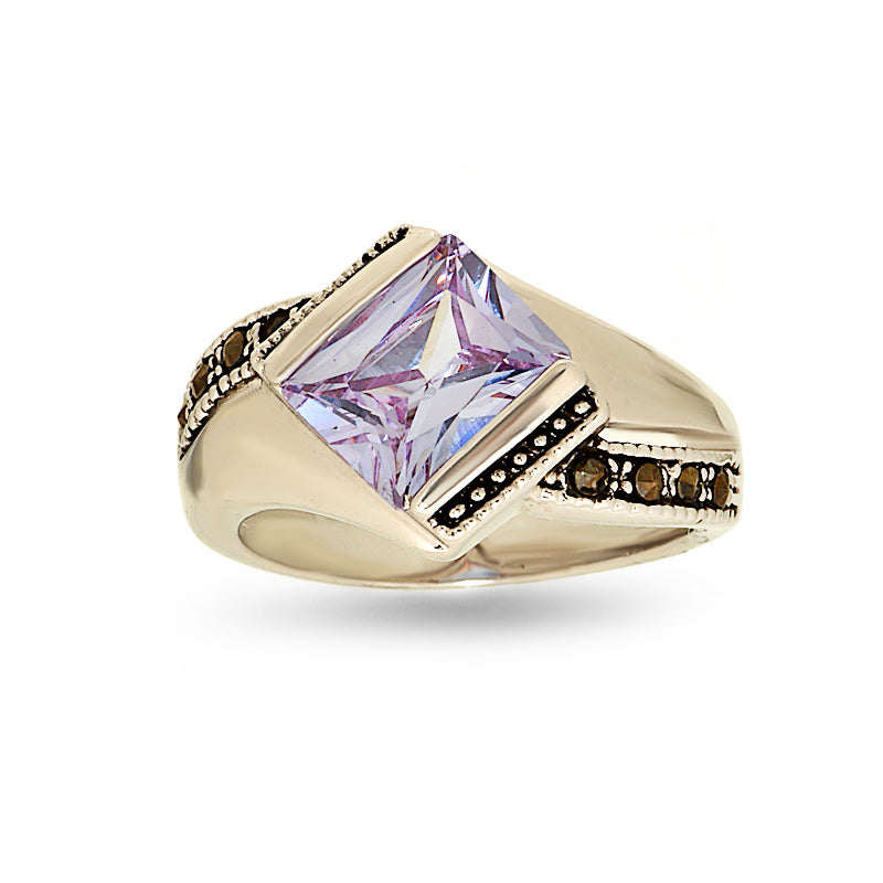 Lavender Cubic Zirconia and Marcasite Ring