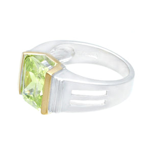 Emerald Cut Green Cubic Zirconia Silvertone Fashion Ring