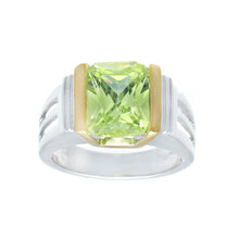 Load image into Gallery viewer, Emerald Cut Green Cubic Zirconia Silvertone Fashion Ring