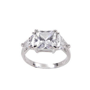 Princess Cut Engagement Style Sterling Silver Ring
