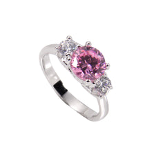 Load image into Gallery viewer, Engagement Style Sterling Silver Ring With Pink Cubic Zirconia