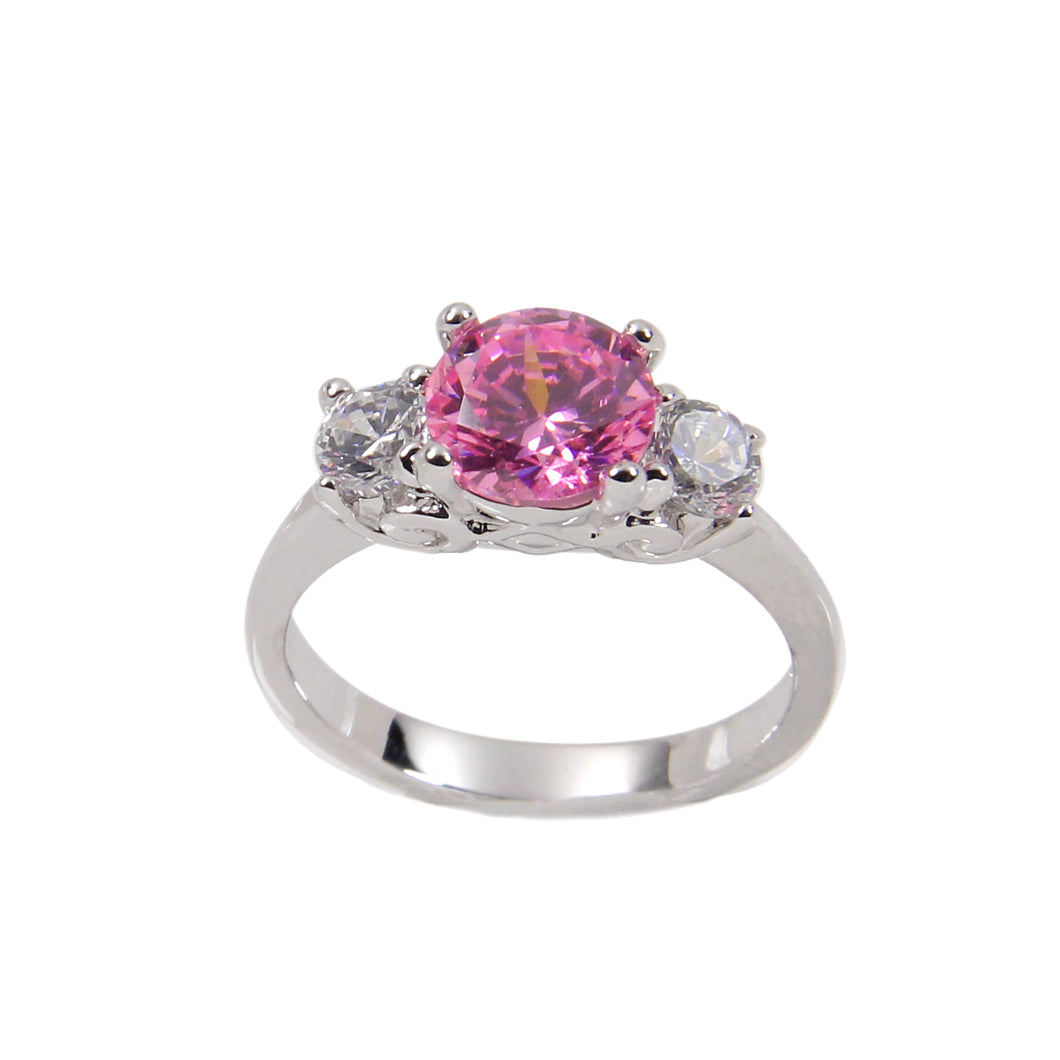 Engagement Style Sterling Silver Ring With Pink Cubic Zirconia