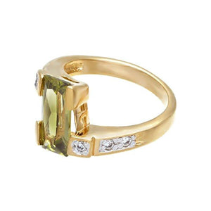 Olivine Cubic Zirconia Gold Two Tone Fashion Ring