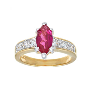 Two Tone Solitaire Fashion Ring With Marquis Synthetic Ruby