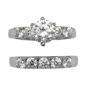 Round 6 Prong Set Wedding Style Accent Stones Ring