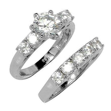 Load image into Gallery viewer, Round 6 Prong Set Wedding Style Accent Stones Ring