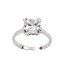 Load image into Gallery viewer, Princess Cut Engagement Style Solitaire Ring in Sterling Silver