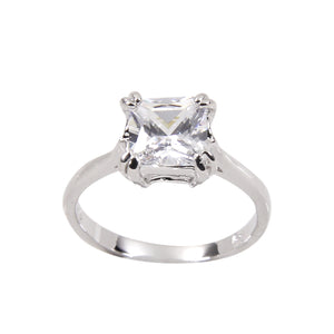 Princess Cut Engagement Style Solitaire Ring in Sterling Silver