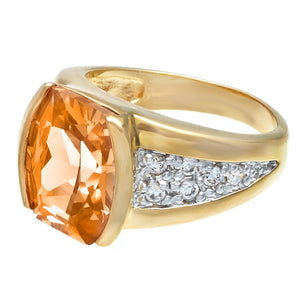 Fancy Cut Champagne Cubic Zirconia Ring w/ Gold Two Tone
