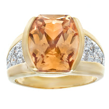 Load image into Gallery viewer, Fancy Cut Champagne Cubic Zirconia Ring w/ Gold Two Tone