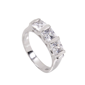 Exquisite Sterling Silver Ring With Three Handset Cubic Zirconia Stones