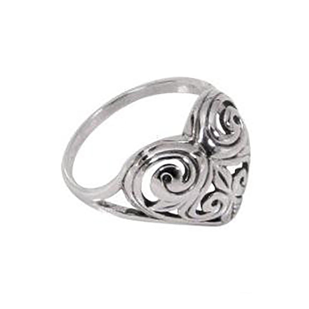 Sterling Silver Antique Style Dome Heart Ring