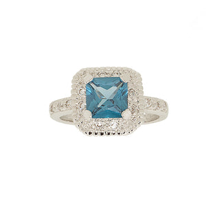 Classic Engagement Style Ring in Princess Cut Blue Zircon and CZ