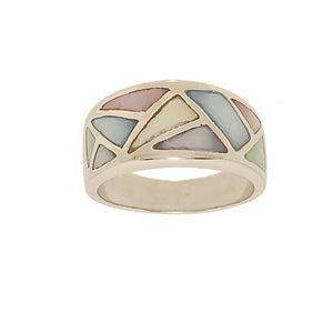 Multi Colored Pastel Genuine Mother of Pearl Band Fashion Ring