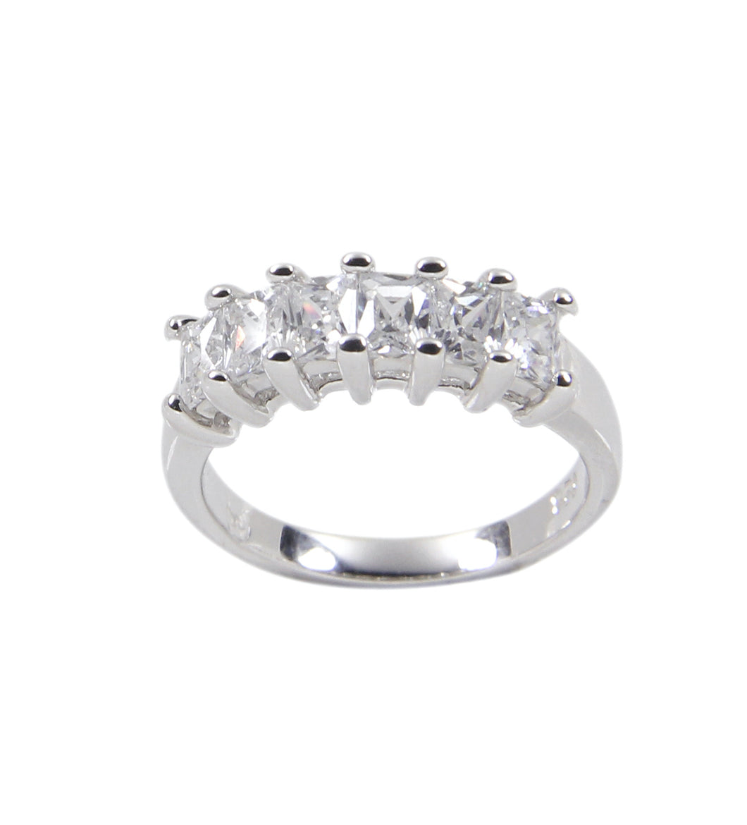 Anniversary Band Ring in Sterling Silver W/ Six Princess Cut Clear Cubic Zirconia