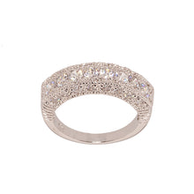 Load image into Gallery viewer, Contemporary Three Sided CZ Band Ring with Twenty Four Stones