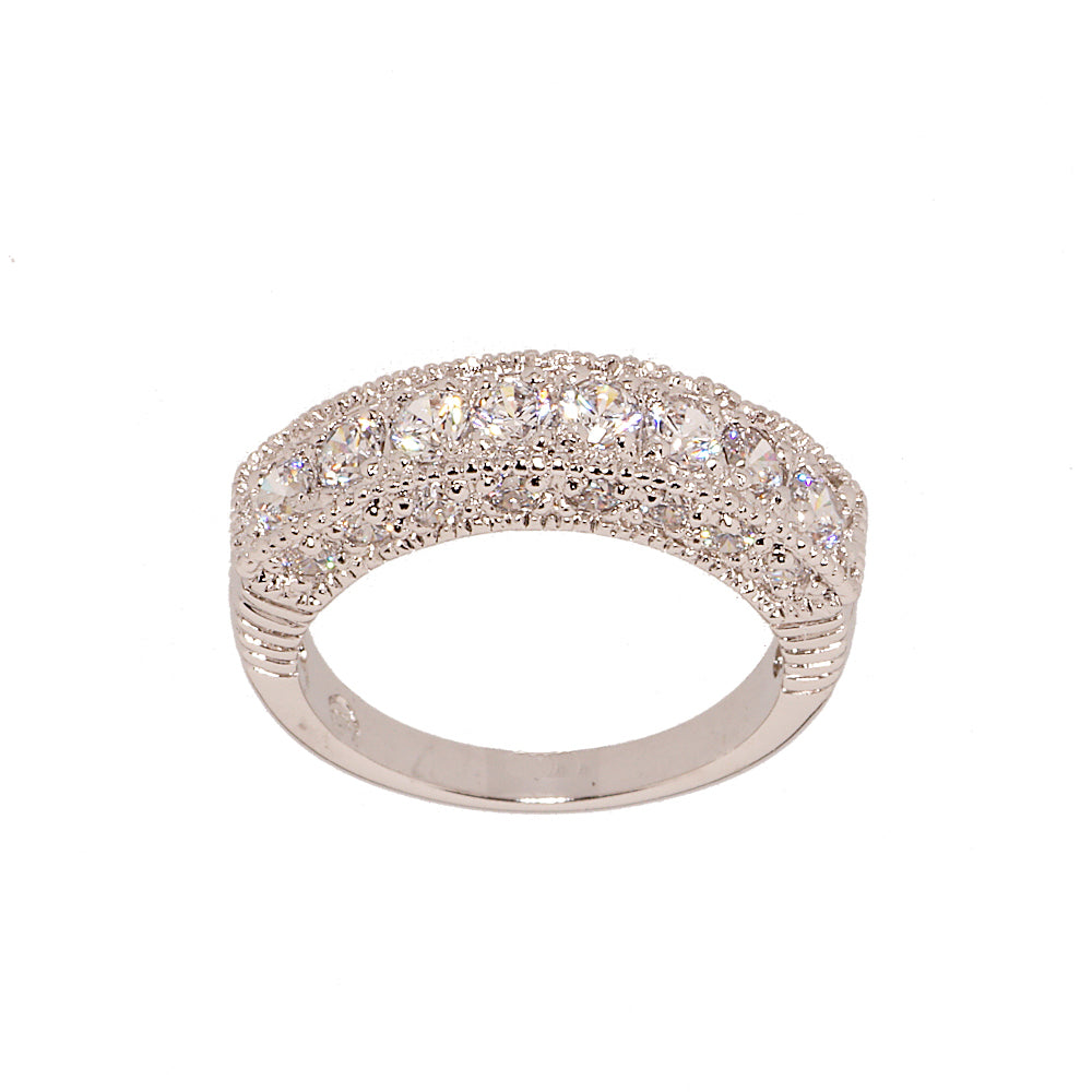 Contemporary Three Sided CZ Band Ring with Twenty Four Stones