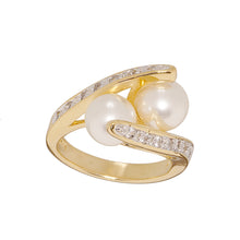 Load image into Gallery viewer, Simulated Pearl and Cubic Zirconia Crossover Ring