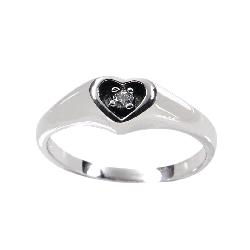 Sterling Silver Antique Style Carved Out Heart Frame Ring