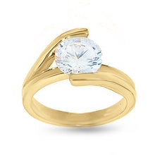 Load image into Gallery viewer, Goldtone Cubic Zirconia Solitaire Engagement Style Fashion Ring
