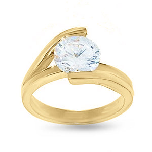 Goldtone Cubic Zirconia Solitaire Engagement Style Fashion Ring