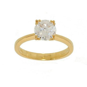 Goldtone Solitaire Cubic Zirconia Engagement Ring