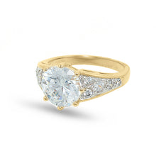Load image into Gallery viewer, Classic Low Set Cubic Zirconia Solitaire Two Tone Ring