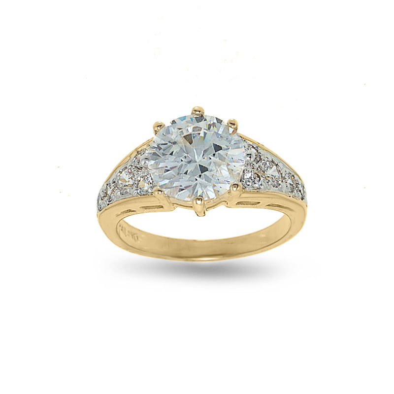Classic Low Set Cubic Zirconia Solitaire Two Tone Ring