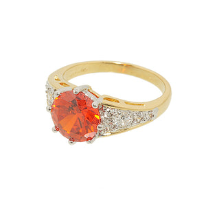 Hand Set Solitaire Fashion Ring With Orange Cubic Zirconia