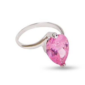 Large Pink Pear Shape Sterling Silver Cubic Zirconia Ring